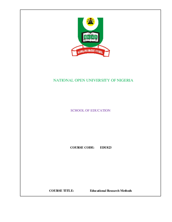PDF) NATIONAL OPEN UNIVERSITY OF NIGERIA SCHOOL OF EDUCATION