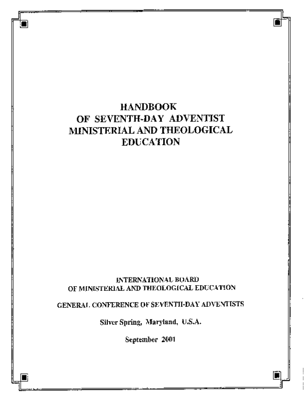 PDF) HANDBOOK OF SEVENTH-DAY ADVENTIST MINISTERIAL AND
