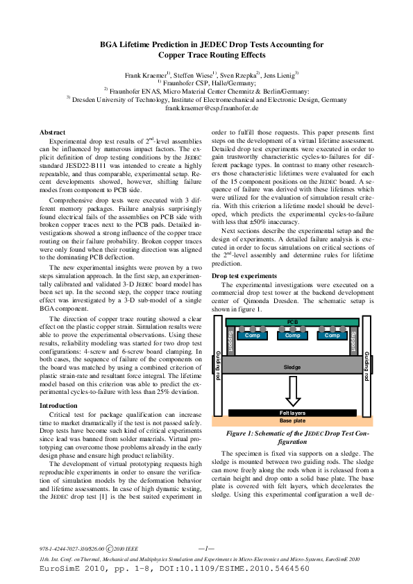 PDF) BGA lifetime prediction in JEDEC drop tests accounting