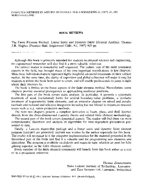 Method pdf hughes element finite the