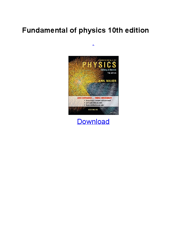 fundamentals of physics extended 10th edition halliday & resnick pdf