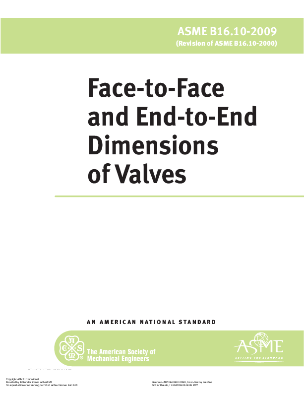 PDF) ASME Face-to-Face and End-to-End Dimensions of Valves
