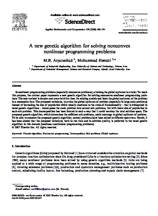 PDF) A new genetic algorithm for solving nonconvex nonlinear