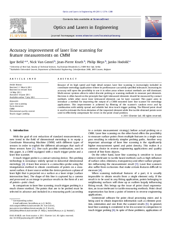 PDF) Accuracy improvement of laser line scanning for feature