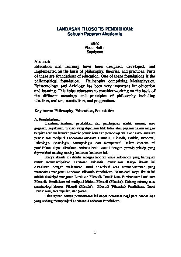 Pdf Landasan Filosofis Pendidikan Sebuah Paparan Akademis Supriyono Supriyono Academia Edu