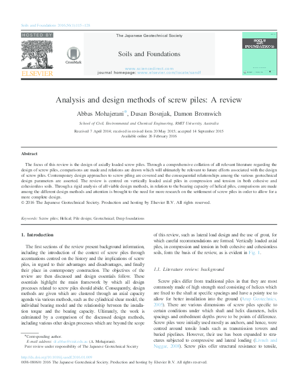 PDF) Analysis and design methods of screw piles: A review