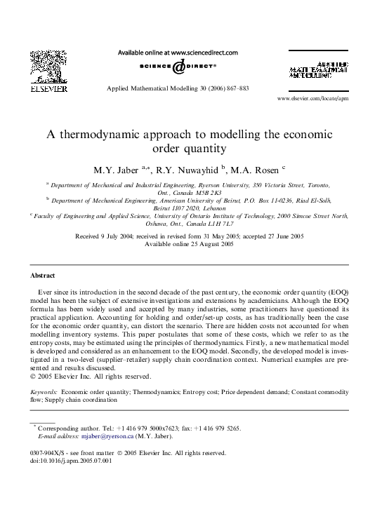 PDF) A thermodynamic approach to modelling the economic