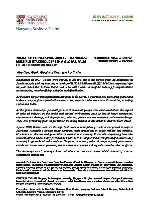 PDF) WILMAR INTERNATIONAL LIMITED – MANAGING MULTIPLE