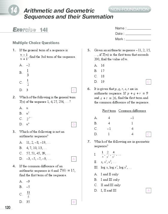 PDF) Arithmetic And Geometric Sequences And Their Summation 14I Multiple  Choice Questions Hannah Ompoco - Academia.edu
