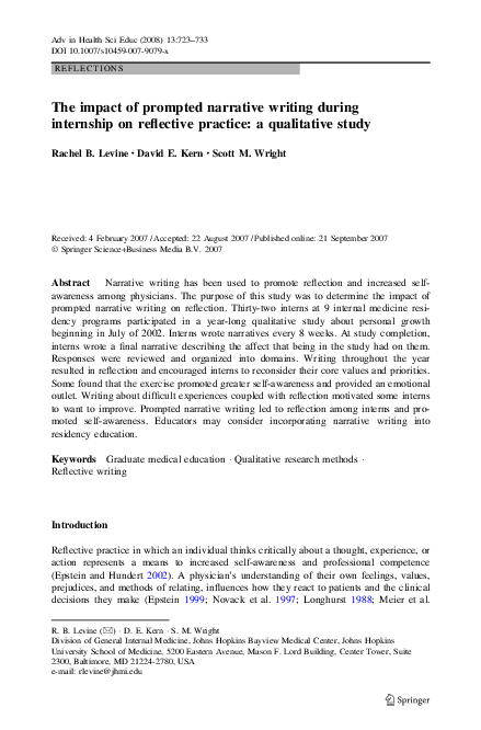 PDF) The impact of prompted narrative writing during internship on