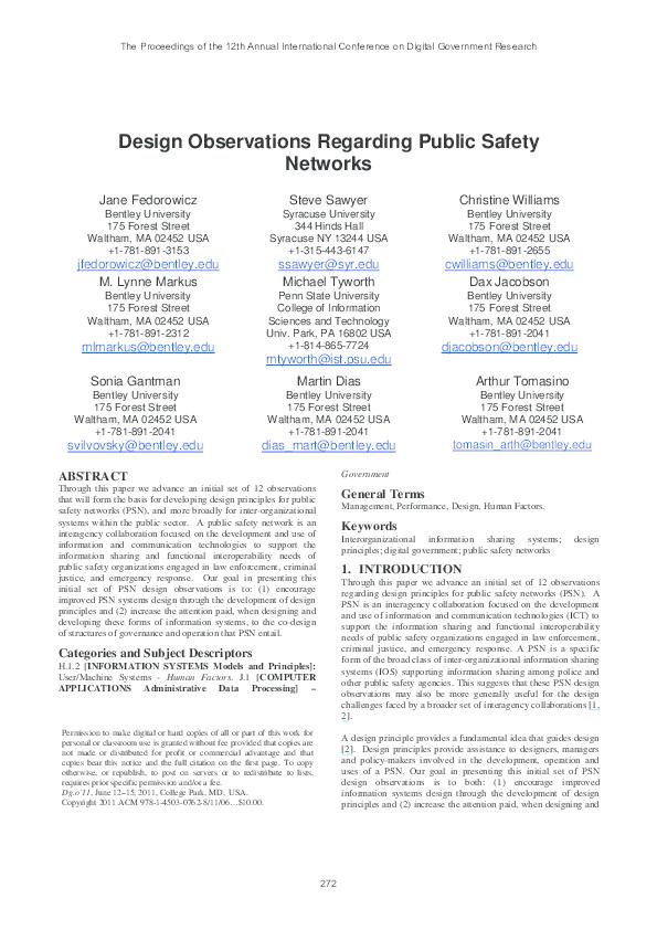 PDF) Design observations regarding public safety networks