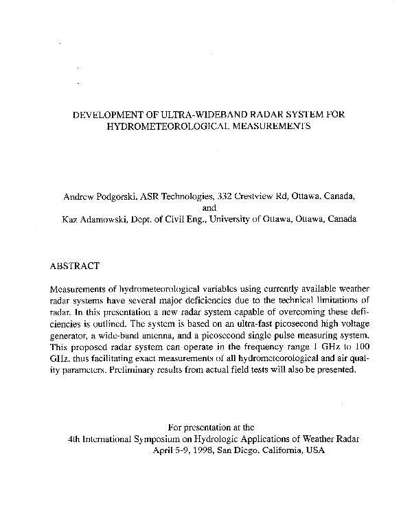 PDF) Development of Ultra-Wideband Radar System for