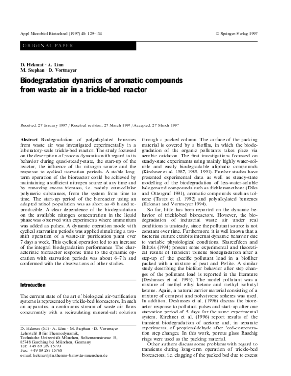 PDF) Biodegradation dynamics of aromatic compounds from
