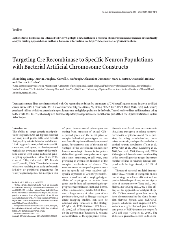 PDF) Targeting Cre Recombinase to Specific Neuron