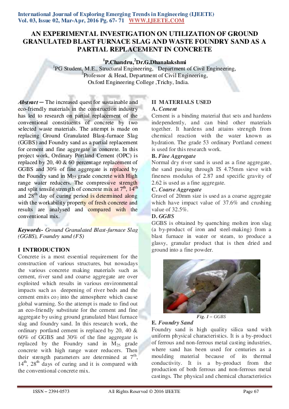 PDF) AN EXPERIMENTAL INVESTIGATION ON UTILIZATION OF GROUND