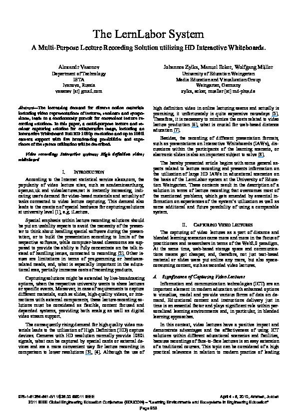 PDF) The LernLabor system — A multi-purpose lecture