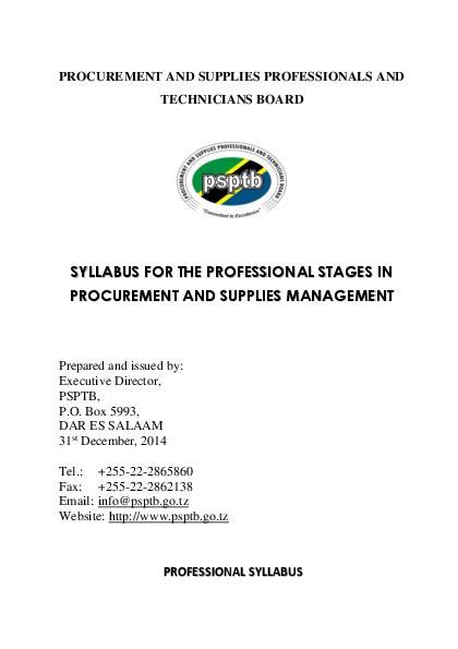 PDF) PROCUREMENT AND SUPPLIES PROFESSIONALS AND TECHNICIANS