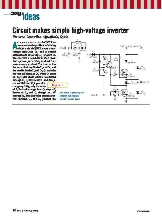 PDF) Circuit makes simple high voltage inverter   Francesc