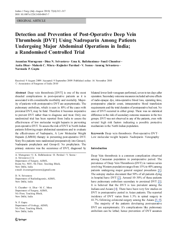 PDF) Detection and Prevention of Post-Operative Deep Vein
