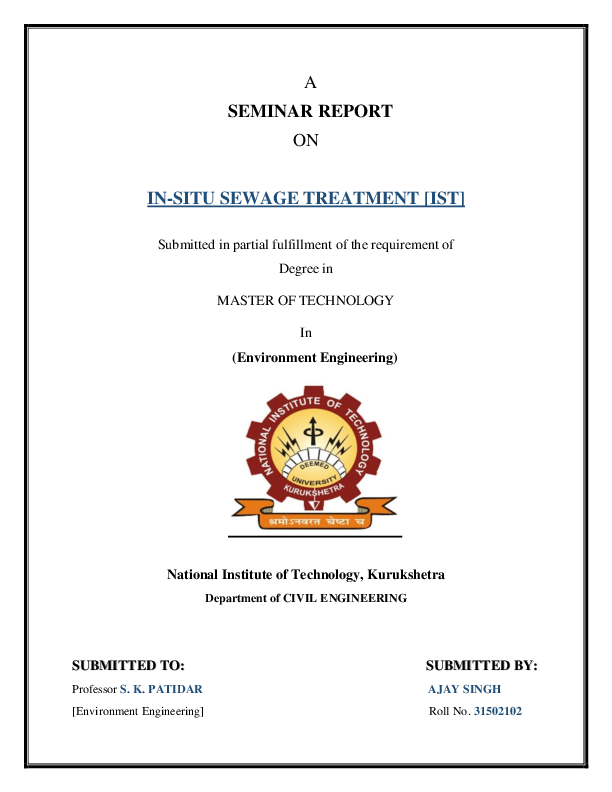 PDF) In-situ sewage treatment | Ajay Singh - Academia edu