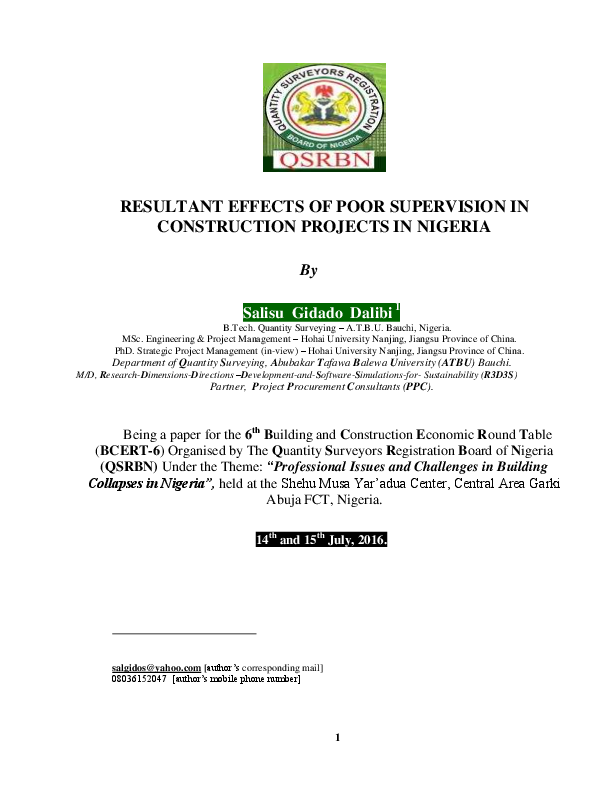 PDF) RESULTANT EFFECTS OF POOR SUPERVISION IN CONSTRUCTION PROJECTS