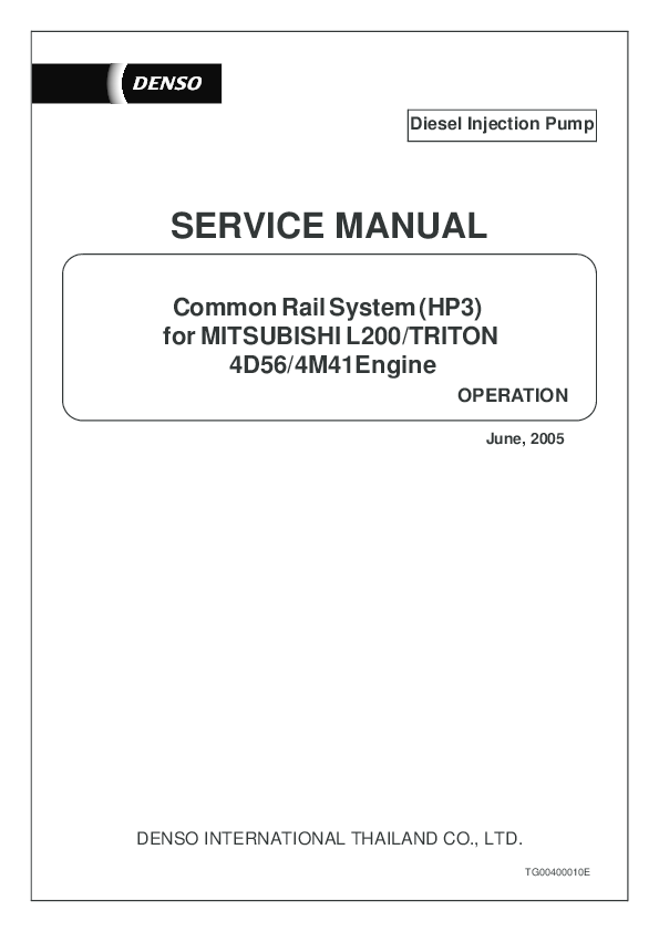 PDF) Diesel Injection Pump Common Rail System (HP3) for MITSUBISHI