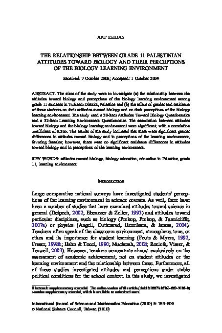 PDF) THE RELATIONSHIP BETWEEN GRADE 11 PALESTINIAN ATTITUDES