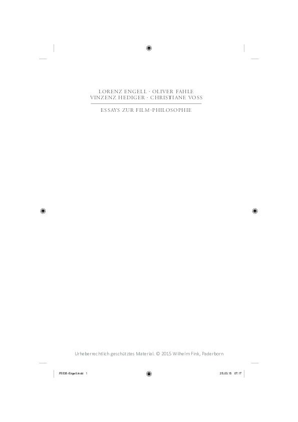 Pdf Essays Zur Filmphilosophie Vinzenz Hediger Academiaedu