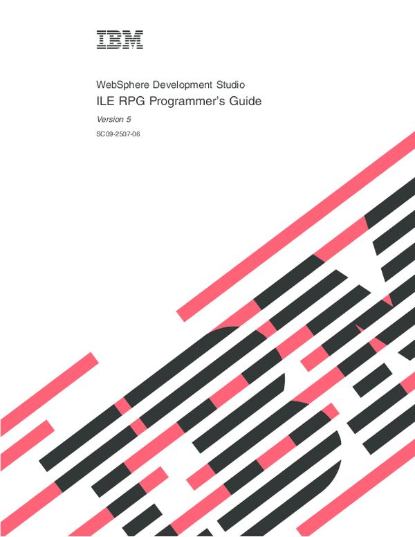 PDF) WebSphere Development Studio ILE RPG Programmer's Guide