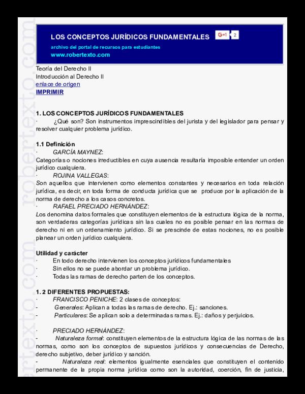 Pdf Los Conceptos Jurídicos Fundamentales Wilfredo