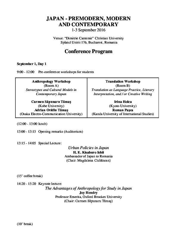 PDF) JAPAN - PREMODERN, MODERN AND CONTEMPORARY Conference
