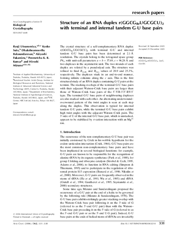 PDF) Structure of an RNA duplex r(GGCG Br UGCGCU) 2 with terminal