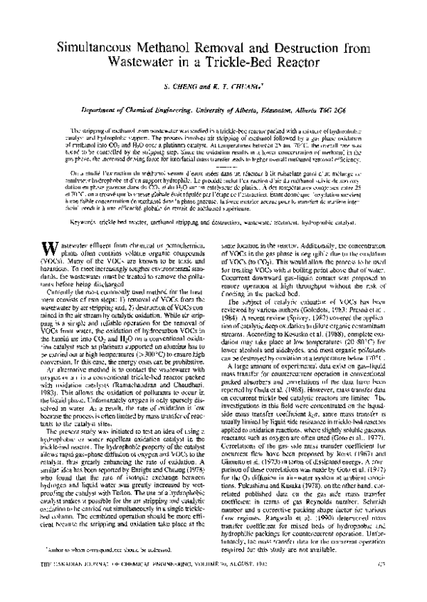 PDF) Simultaneous methanol removal and destruction from
