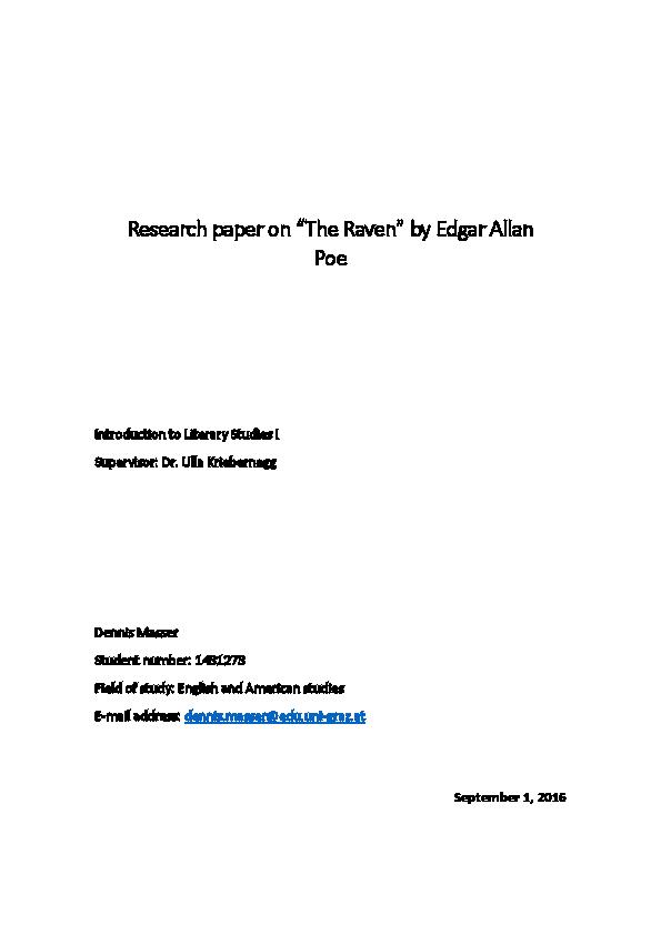 An Analysis To Edgar Allan Poes The Raven Dennis Masser