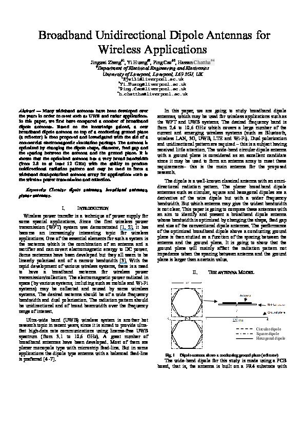 PDF) Broadband unidirectional dipole antennas for wireless