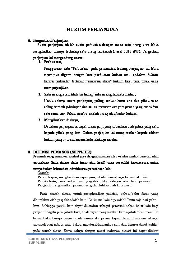 Doc Surat Perjanjian Supplier Erika Kertistika Academiaedu