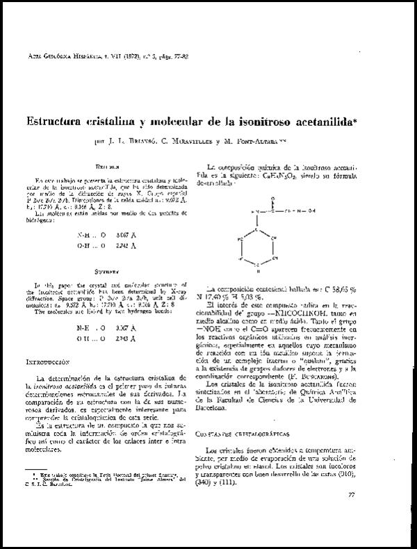 Pdf Estructura Cristalina Y Molecular De La Isonitroso