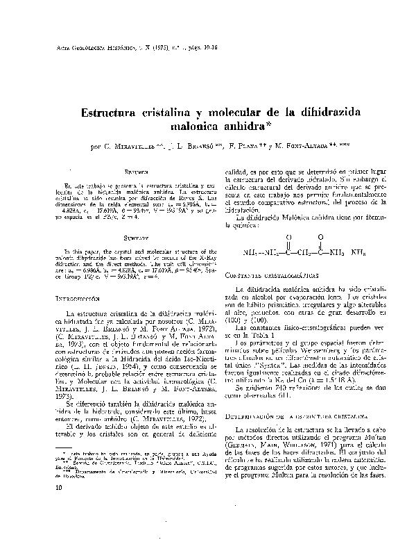 Pdf Estructura Cristalina Y Molecular De La Dihidrazida