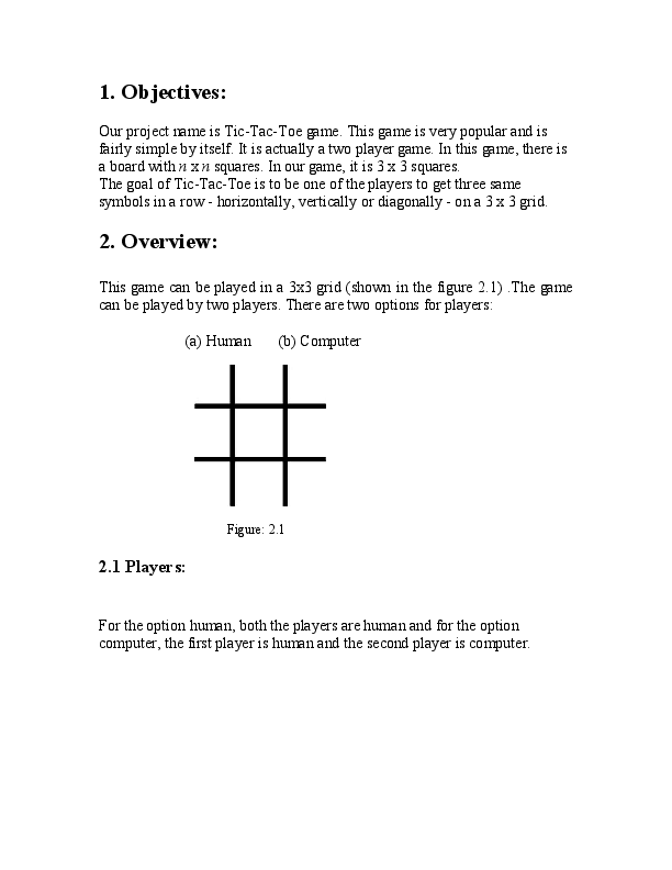 PDF) Project Report Tic Tac Toe | shirisha kambham - Academia edu