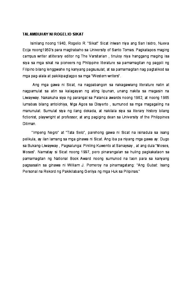 DOC) TALAMBUHAY NI ROGELIO SIKAT | Arjay Pineda - Academia edu