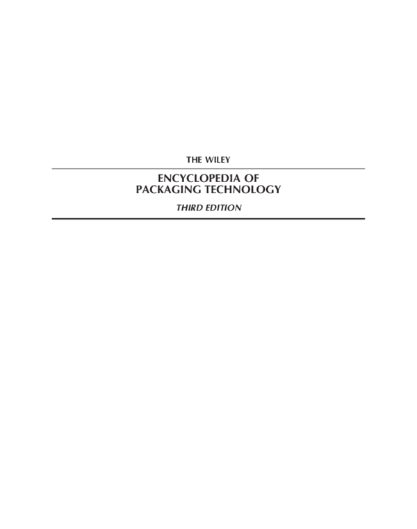 PDF) Wiley Encyclopedia of Packaging Technology   LASINRANG