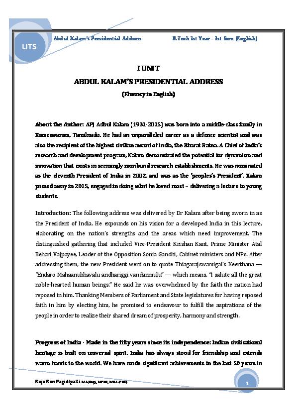 PDF) Abdul Kalam's Presidential Address (Complete Notes) B