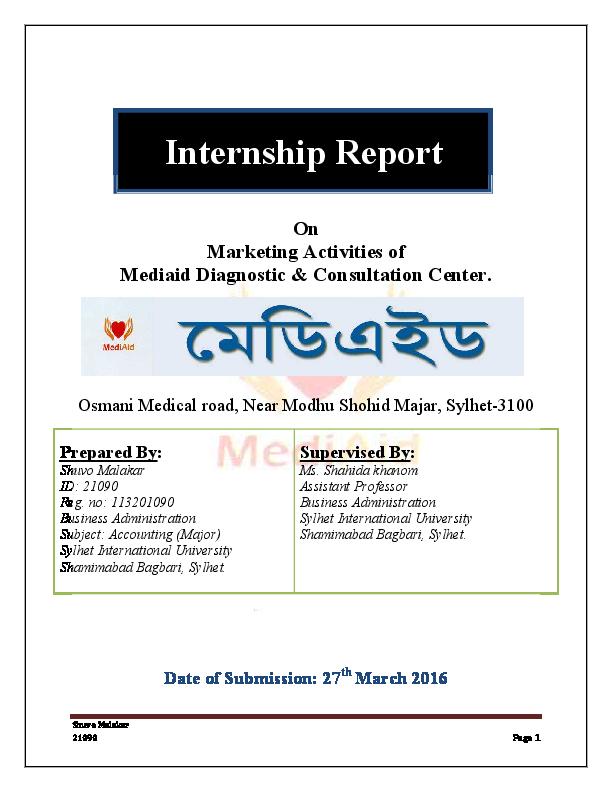 PDF) Internship Report on Marketing Activities of Mediaid