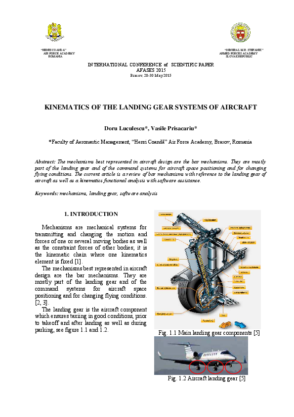 Pdf Kinematics Of The Landing Gear Systems Of Aircraft Vasile Prisacariu Academia Edu