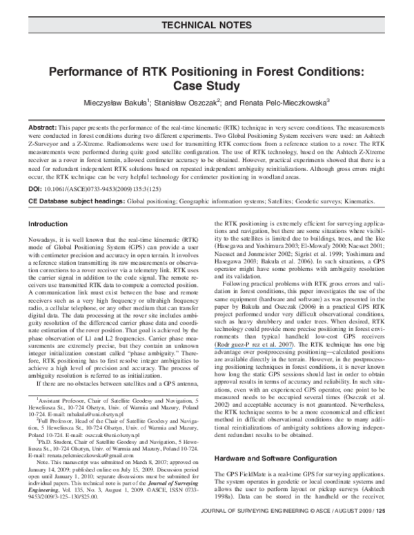 PDF) Performance of RTK Positioning in Forest Conditions