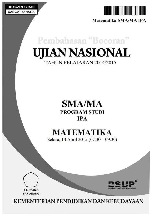 Pdf Pembahasan Bocoran Soal Un Matematika Sma Ipa 2015 By Pak Anang Blogspot Com 1 Elly Tjia Academia Edu