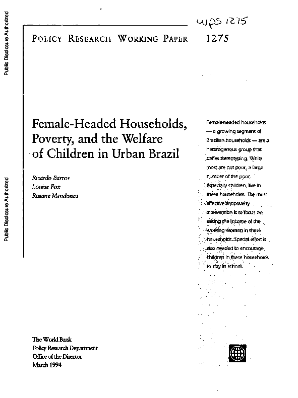 PDF) Female-Headed Households, Poverty, and the Welfare of