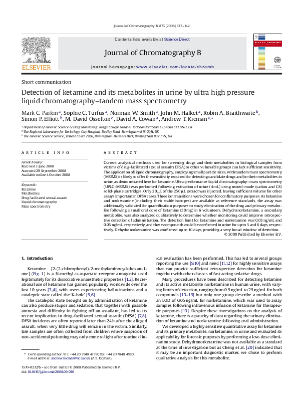 PDF) Detection of ketamine and its metabolites in urine by