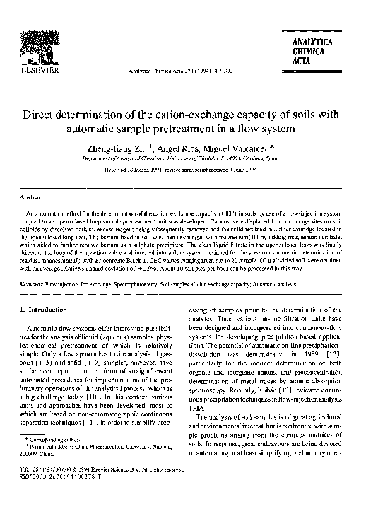 PDF) Direct determination of the cation-exchange capacity of soils