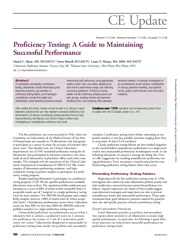 PDF) Proficiency Testing: A Guide to Maintaining Successful